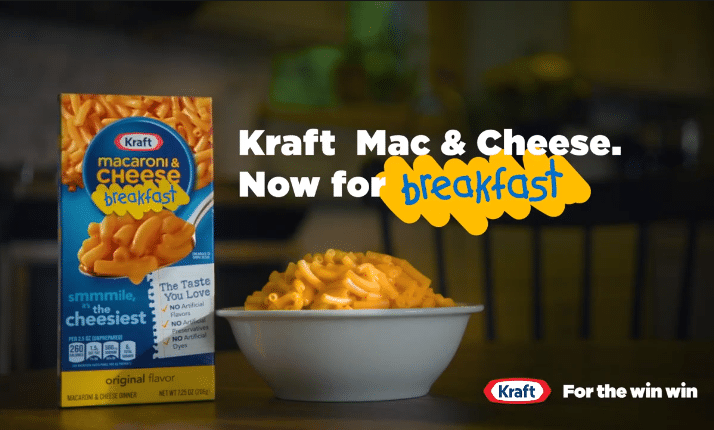 Kraft Mac and Cheese declares itself a breakfast food.