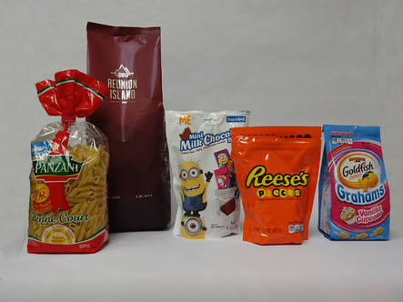 stand up pouches for candy and snack foods offered by Rovema on VFFS machines